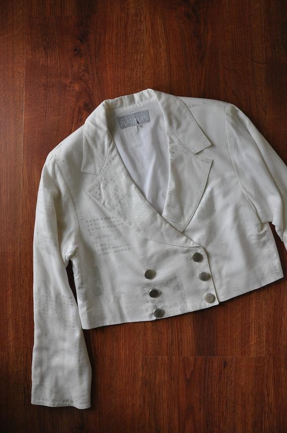 90s white linen pant suit / 1990s two piece boxy … - image 8
