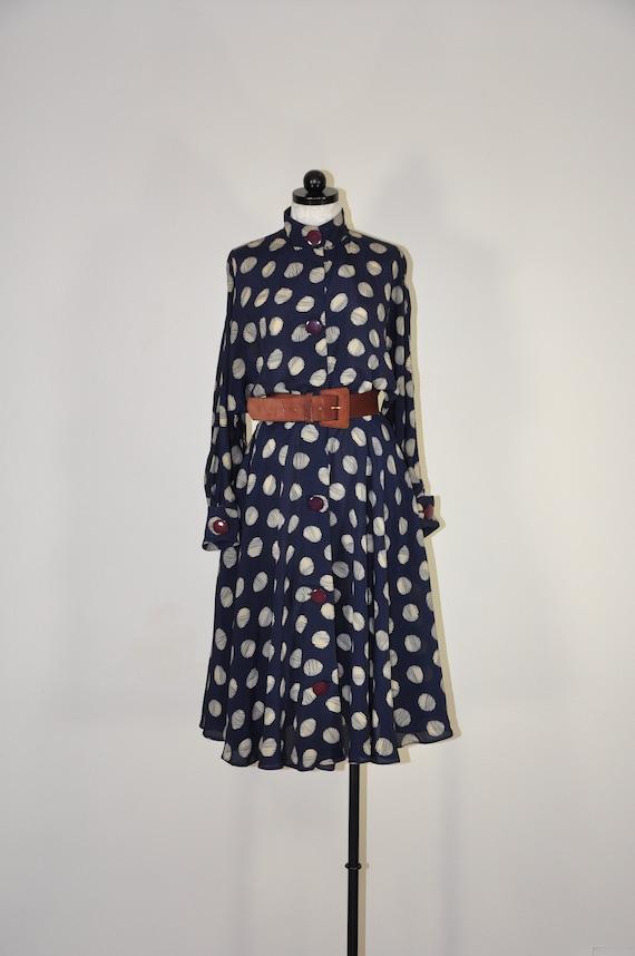 80s navy polka dot dress / flared rayon shirtdress