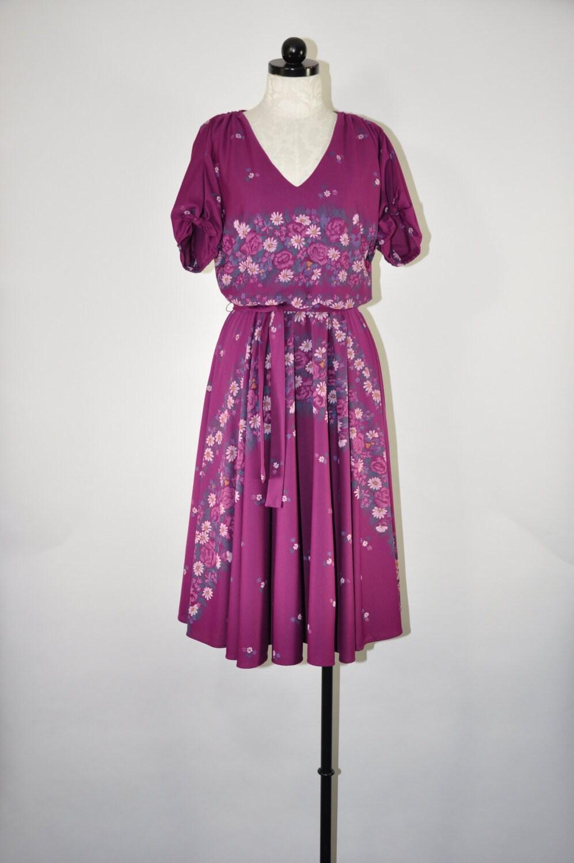 80s Dresses | Casual to Party Dresses 70S Violet Floral DressPurple Full Skirted Flower Garland Bohemian $74.00 AT vintagedancer.com
