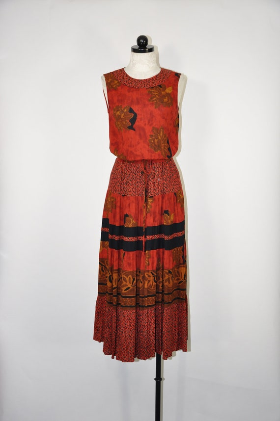 90s sienna brown dress / rust floral maxi dress /