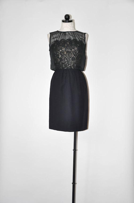 60s black cocktail dress / 1960s lace party dress