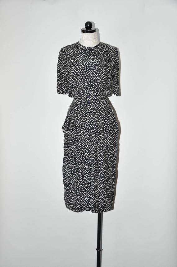 80s graphic black rayon dress / 1980s polka dot mi