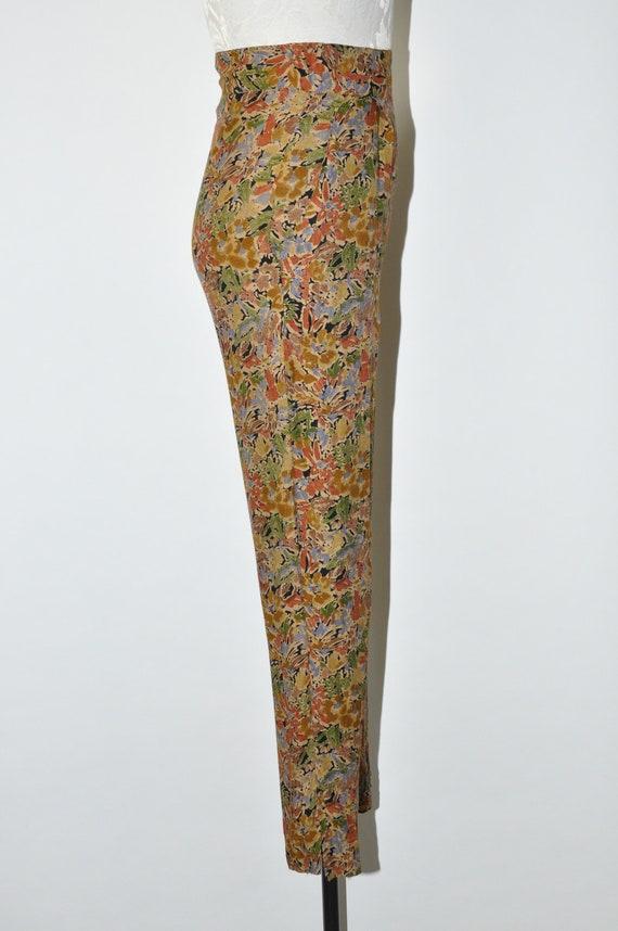 90s leaf print rayon pants / 1990s high waist tro… - image 5