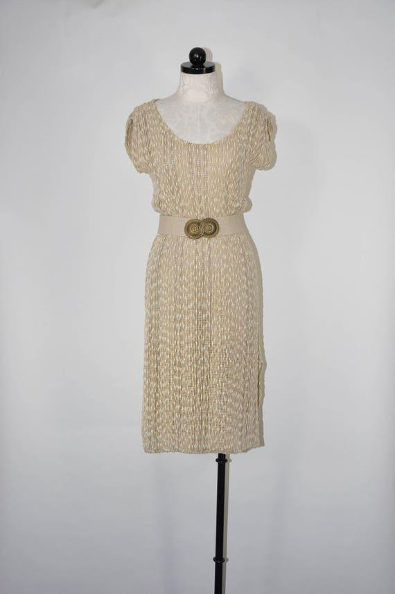 70s striped cotton dress / textured sleeveless dre