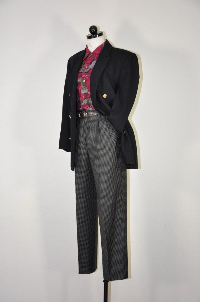 90s black pure wool blazer  1990s minimalist jacket  oversized boyfriend blazer