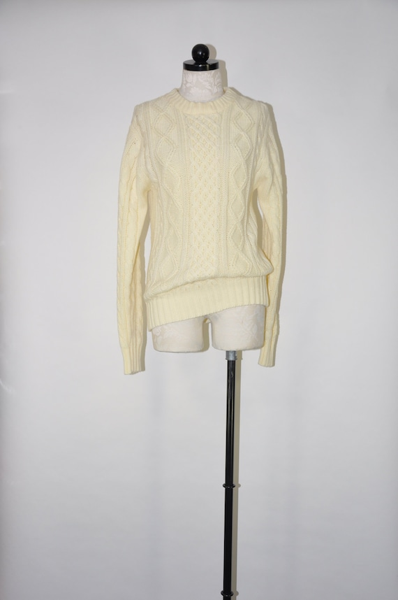 70s cream fisherman sweater / 1970s chunky knit ar