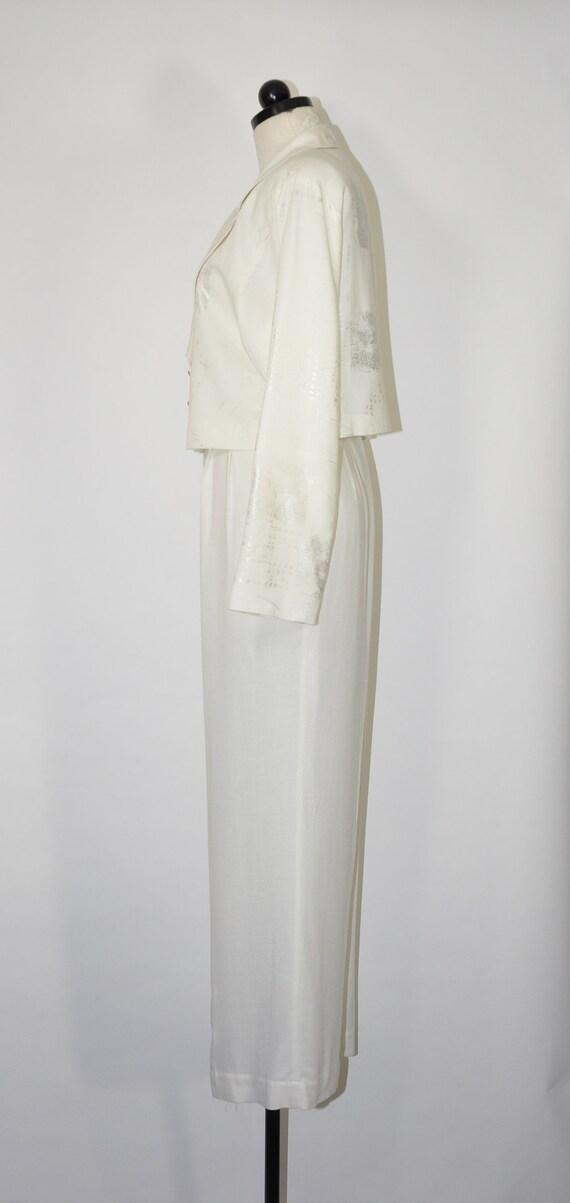 90s white linen pant suit / 1990s two piece boxy … - image 6
