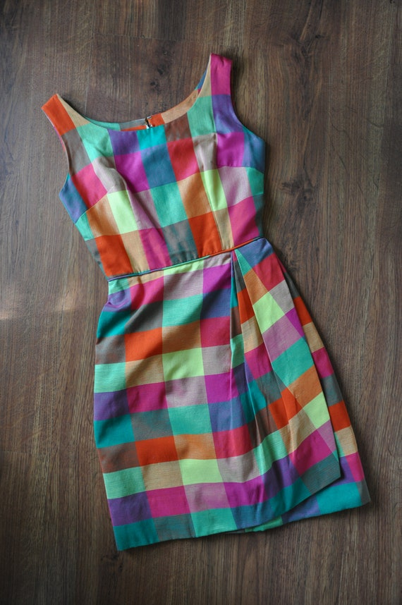 60s rainbow madras dress / 1960s tulip wrap dress