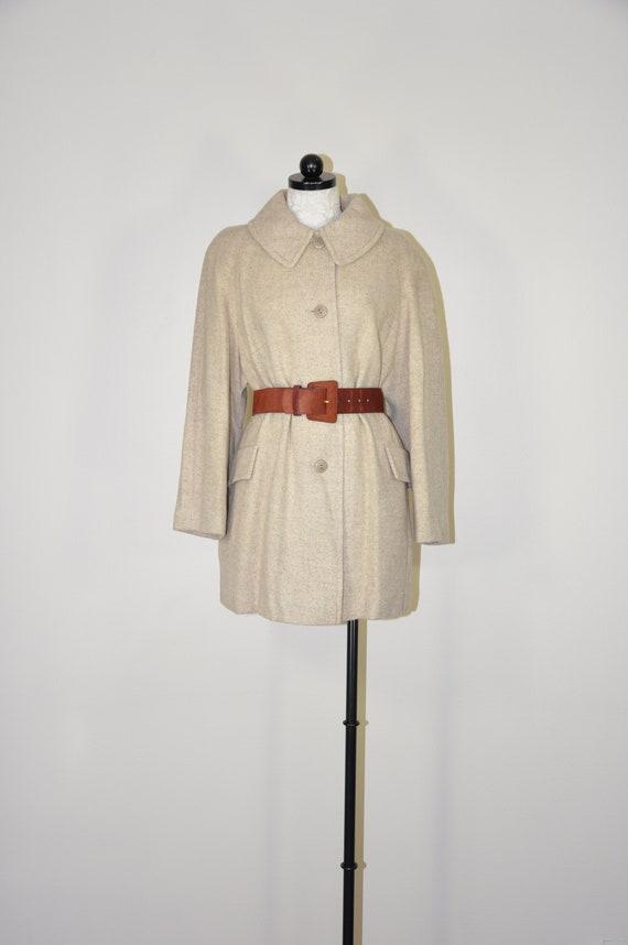 90s neutral wool coat / herringbone swing coat / b