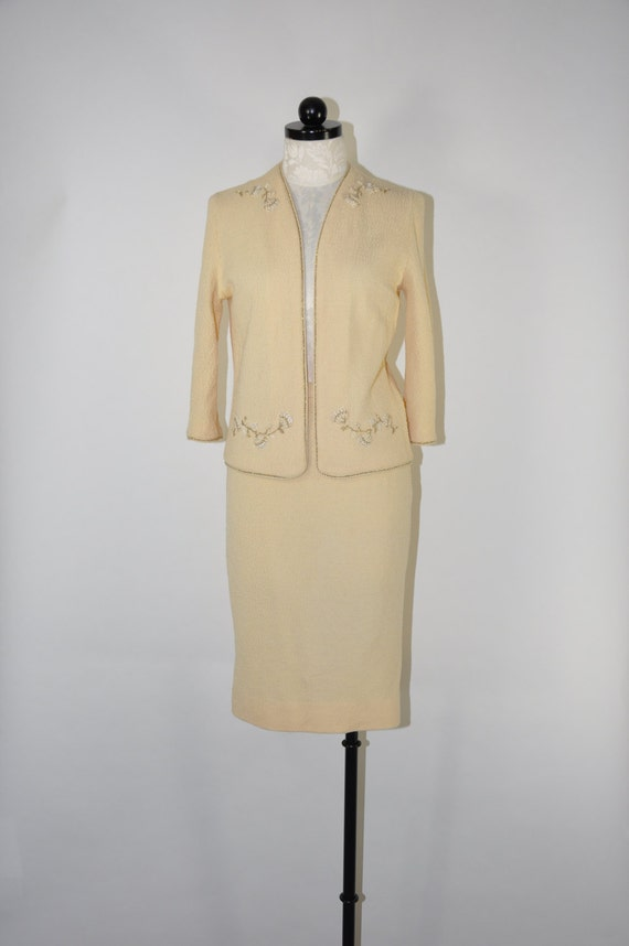 60s cream wool boucle knit suit / knitted two piec