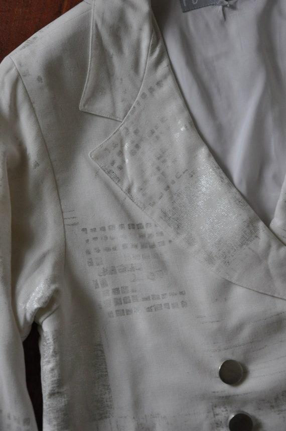 90s white linen pant suit / 1990s two piece boxy … - image 9