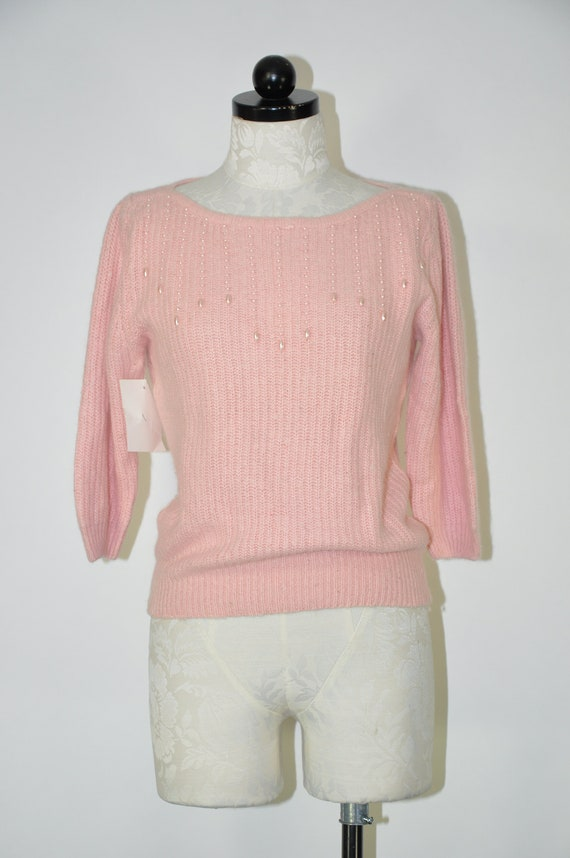 S-M 80/'s Pink Pearl Embellished Sweater Size Small Medium