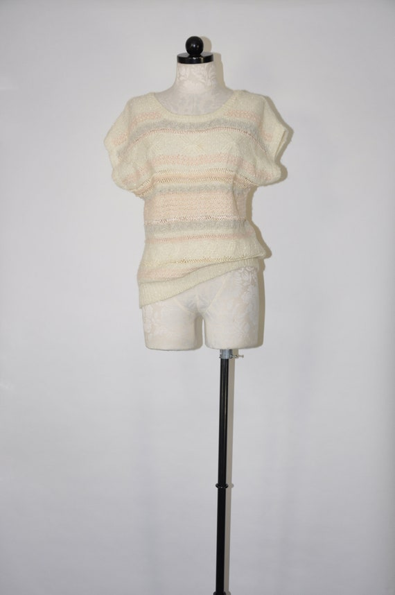 80s striped crochet pullover / 1980s ivory nubby k