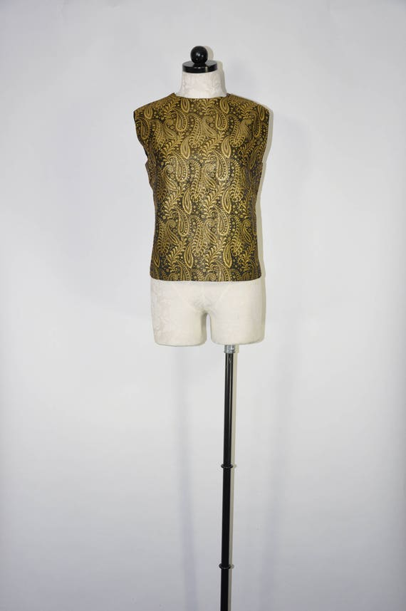 60s gold lame paisley top / 1960s lurex sleeveless