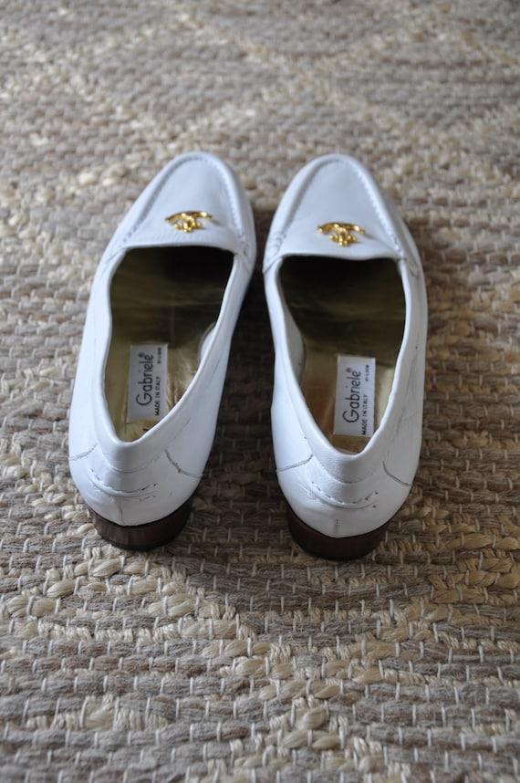 80s nautical white loafers / Italian leather mocc… - image 4