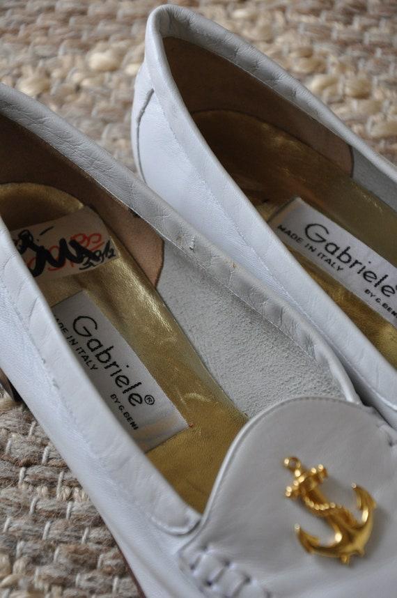 80s nautical white loafers / Italian leather mocc… - image 7