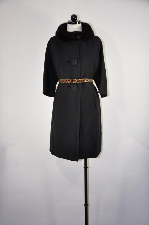 60s black wool swing coat / 1960s mink collar coat