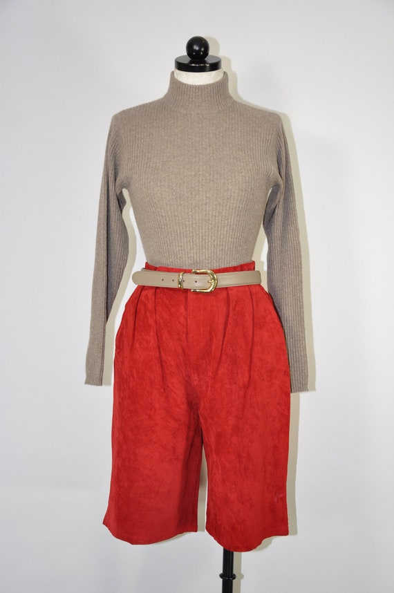 Vintage High Waisted Red Suede Leather Shorts  Size Medium  Authentic Imports Made in Taiwan  1980s fashion Suede Mom Shorts