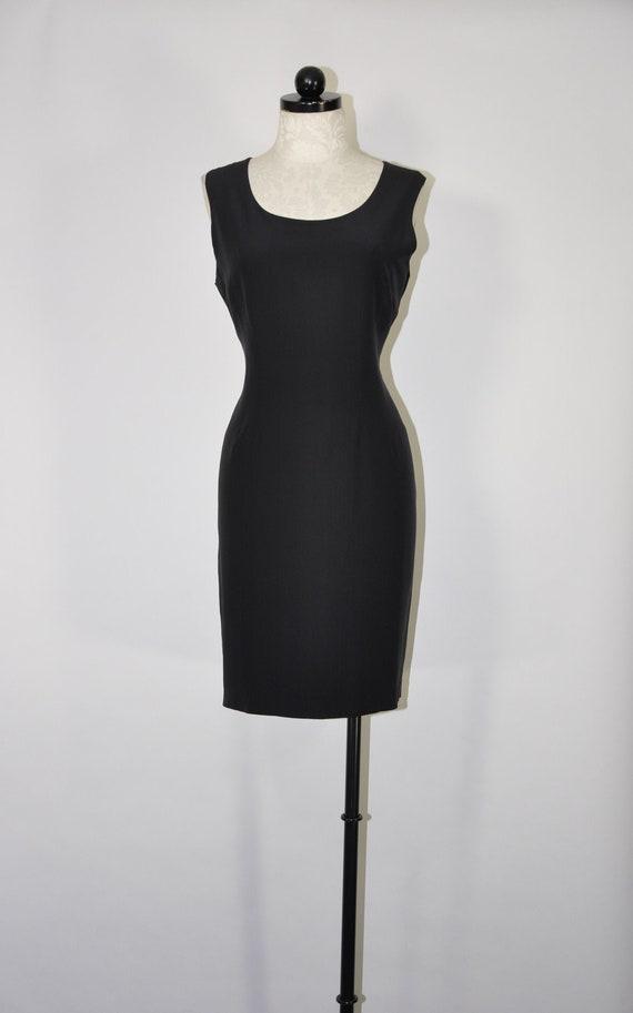 90s black silk tank dress / black silk sheath dres