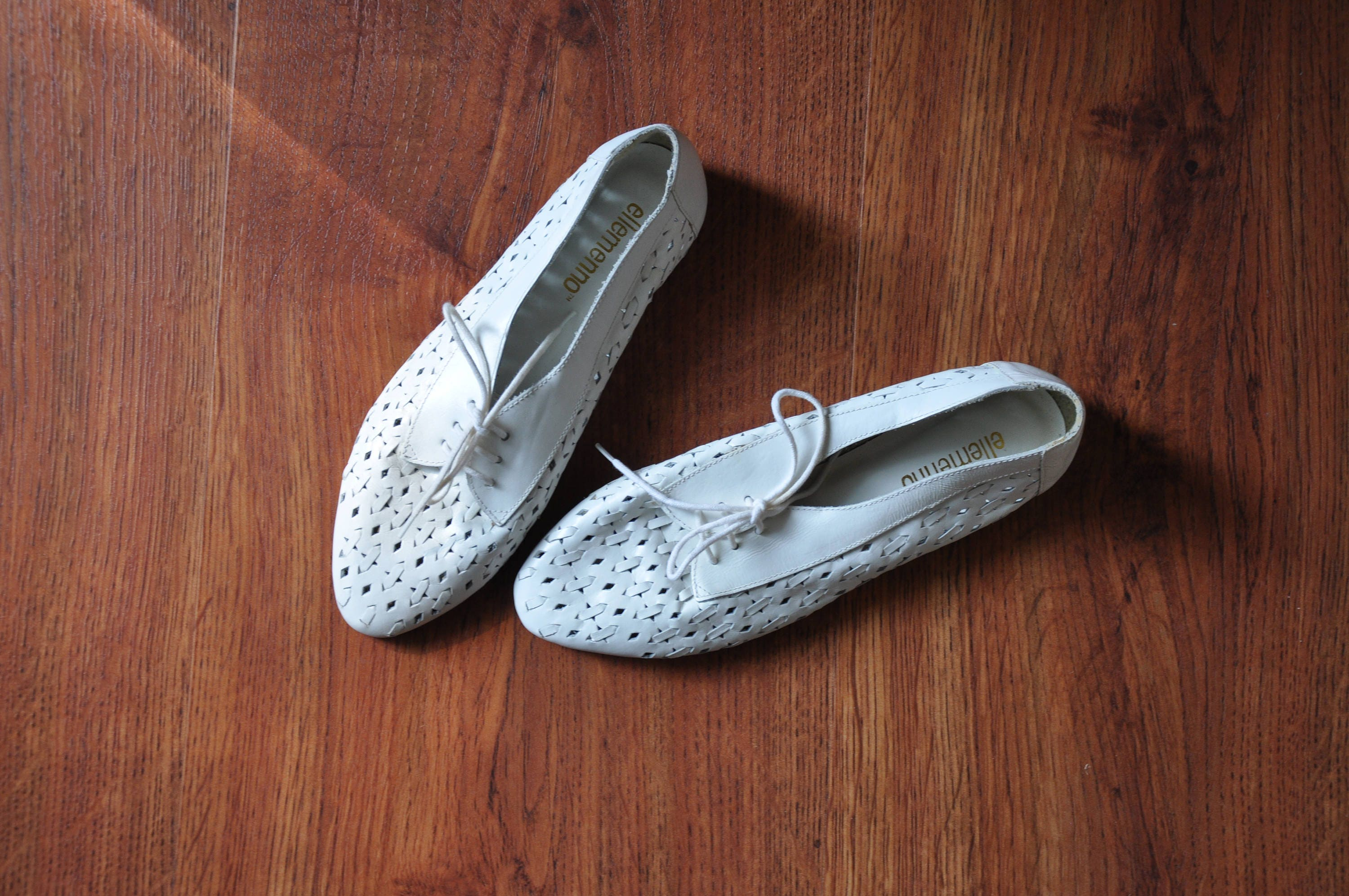 7b0ccf98fca67 90s white floral oxfords / 1990s perforated leather shoes / white cutout  lace up flats 7