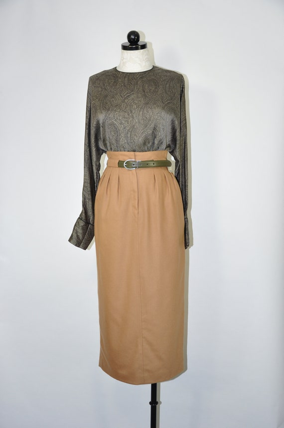 90s silk charmeuse blouse / 1990s gray paisley pri