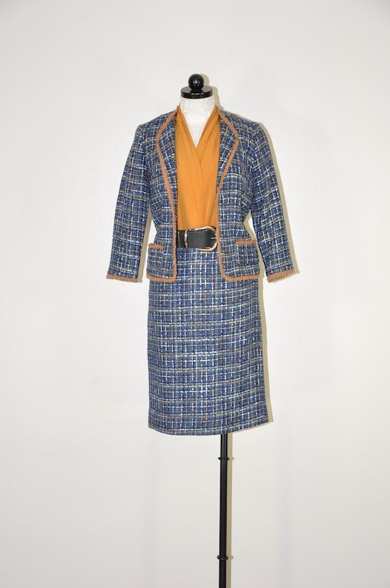 60s blue brown plaid wool suit / wool tweed two pi