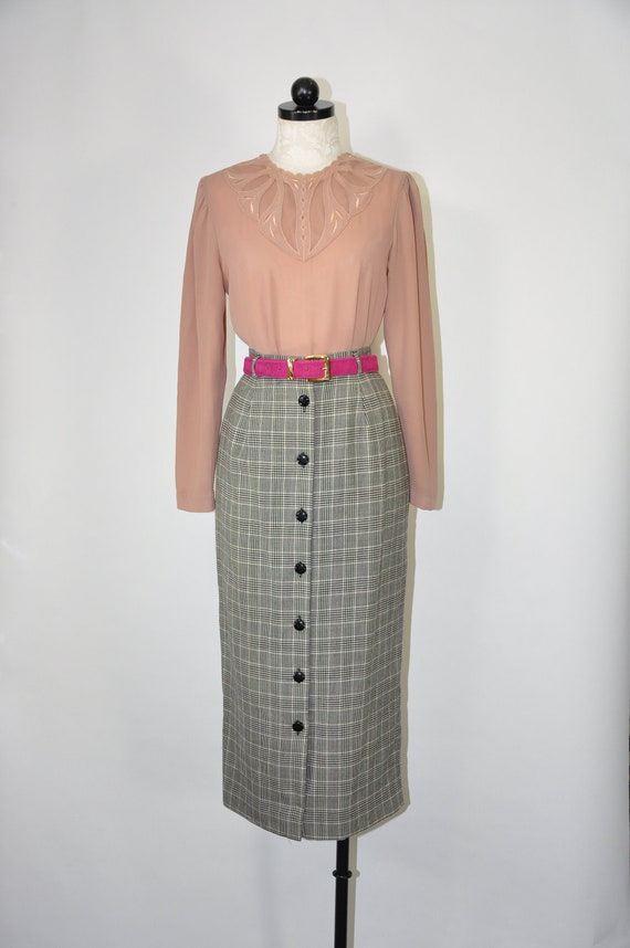 90s wool long pencil skirt / gray glen plaid midi