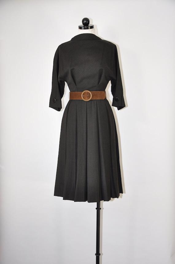 50s Teal Traina wool dress / 1950s brown plaid ple