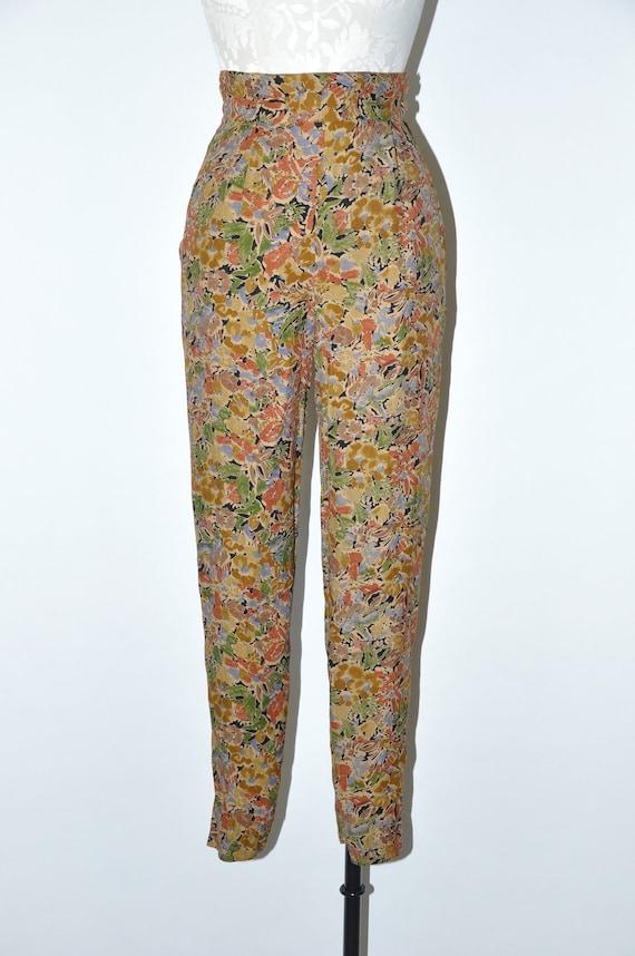 90s leaf print rayon pants / 1990s high waist tro… - image 2