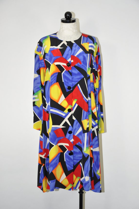 90s colorful silk dress / 1990s silk tent dress /… - image 2