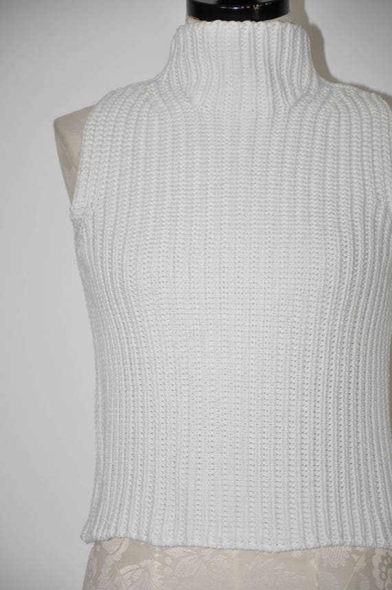 90s ribbed knit crop top / snow white cotton turt… - image 5