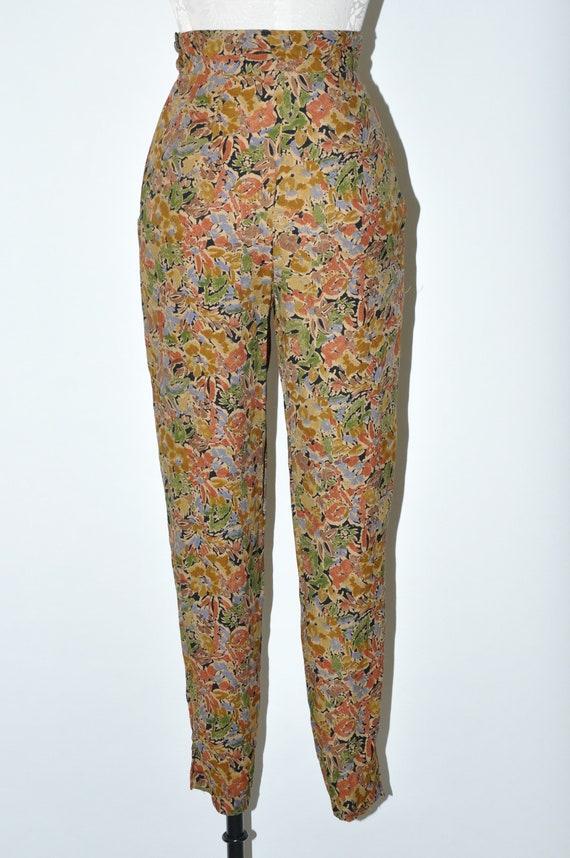 90s leaf print rayon pants / 1990s high waist tro… - image 6