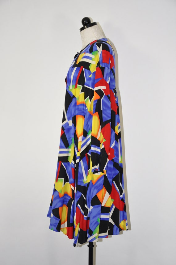 90s colorful silk dress / 1990s silk tent dress /… - image 6