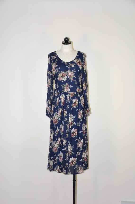 90s rose print market dress / romantic floral maxi