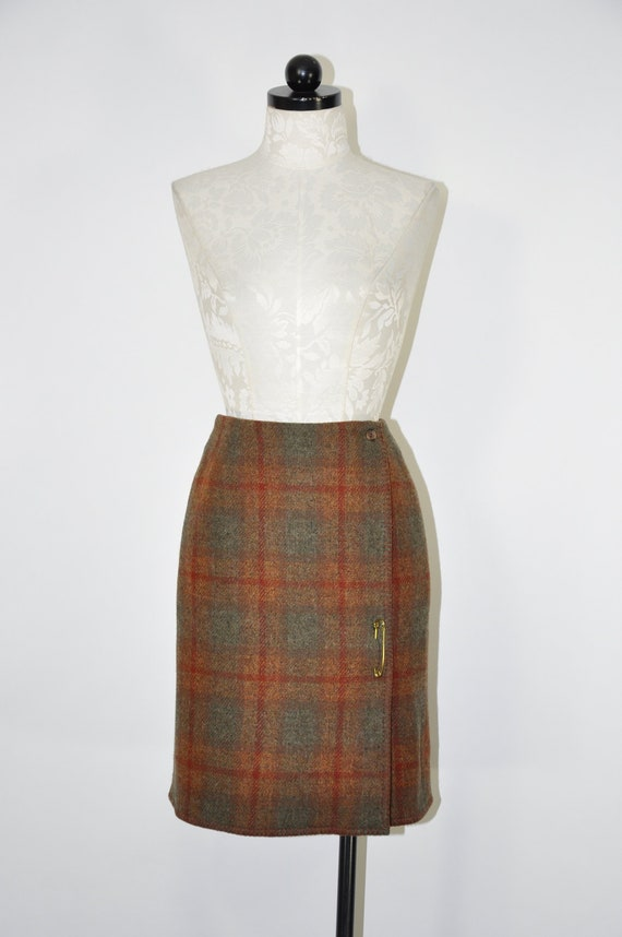 90s rust plaid wrap skirt / 1990s brown wool penci