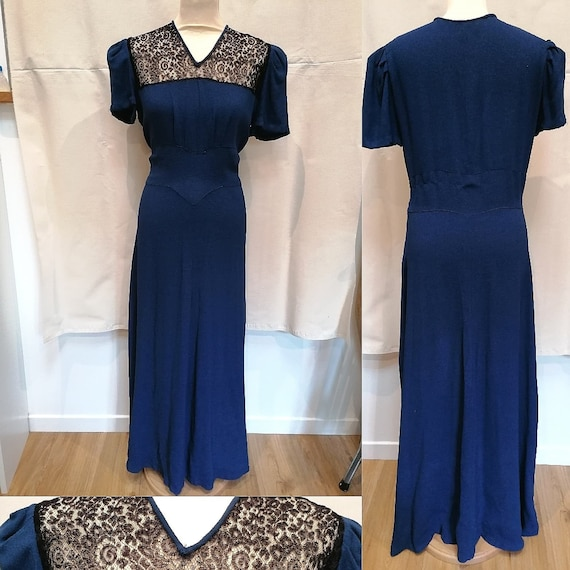 1940s Dress - Stunning blue and lace black evening