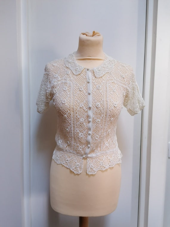 1930s Bodice - Beautiful crocheted cotton bodice f