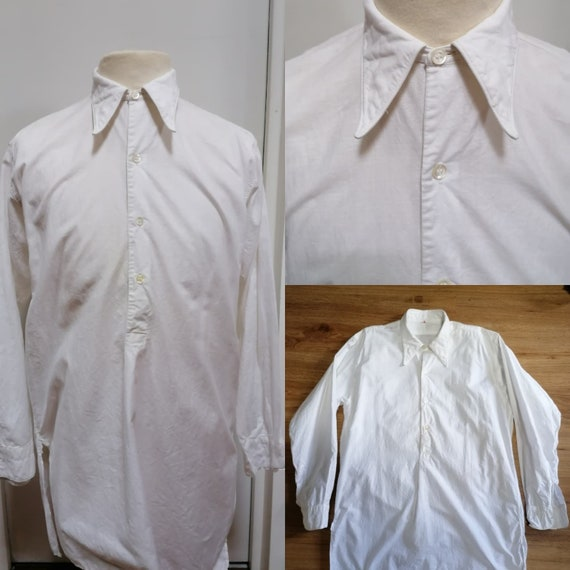 1930s shirt - White cotton swallow collar shirt fr