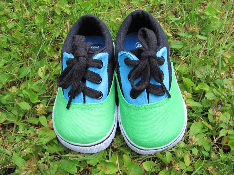970627372804a Hand Painted Customized Shoes For Twins, Baby, Toddler, And Children Canvas  Blue And Green Lace Up Shoes for Twin Boys