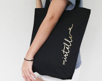 c233d0dc5 Gold on Black Personalized Canvas Tote Bag, Personalized Bridesmaid Tote  Bags, Gifts for Bridesmaids, Personalized Black Canvas Tote Bags