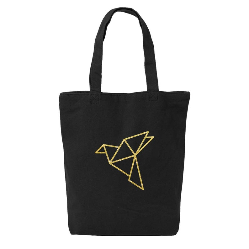 teacher gifts Origami Crane Canvas Tote Bag Women farmers market bag geometric bird print library bag for kids college student gift