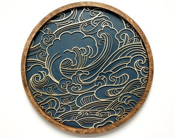 Gold on Blue, Japanese, Ocean, Wall Art, Small to Extra Large
