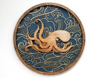 Kraken, Octopus, Japanese, Ocean, Wall Art, Customize Colors