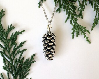 Pinecone Necklace Silver Nature
