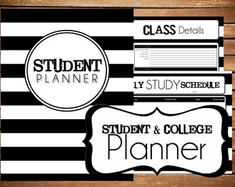 purple editable student planner printable college planner etsy