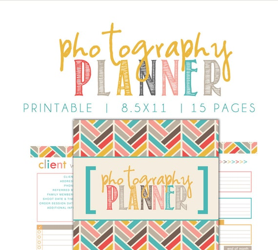 Photography Planner Printable SIZE LARGE 85x11 Instant