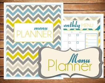 Menu Planner Printable EDITABLE {SIZE LARGE 8.5 x 11} - Instant Download - Meal Planner Chevron