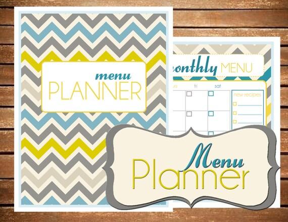 menu planner printable editable size large 8 5 x 11 etsy