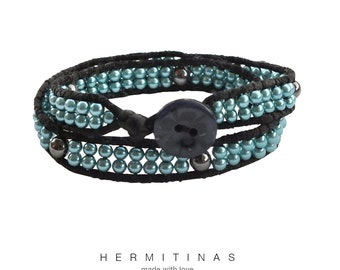 Silk cord bracelet with teal blue pearls and hematite, Black satin cor bracelet with teal blue pearls and hematite, Two wraps pearl bracelet