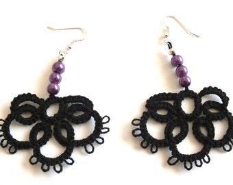 Black Tatted Earrings with Purple Pearls, Half Flower Tatted Lace Earrings, Black Flower Tatting Earrings, Lace Earrings with Purple Pearls